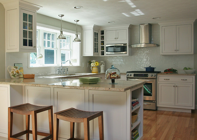 White Coastal Kitchen Traditional Boston