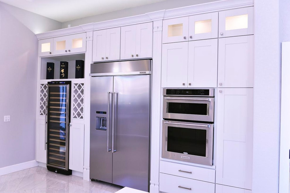 White Contemporary Kitchen, 405 Cabinets And Stone