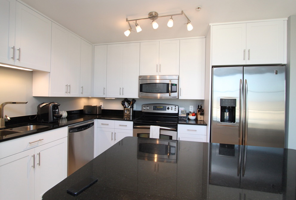 White Contemporary Kitchen with Brushed Nickel Hardware ...