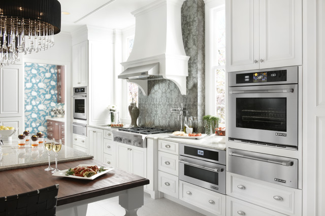 White Eclectic Kitchen featuring Jenn-Air Appliances - Close up eclectic-kitchen