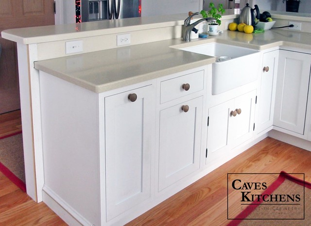 White Eclectic Kitchen with Two Tiered Peninsula - Eclectic - Kitchen - other metro - by Caves ...