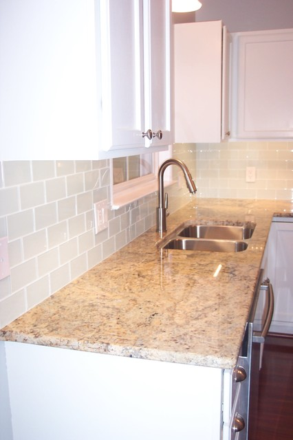 Delightful White Glass Subway Tile Kitchen Backsplash Traditional Kitchen