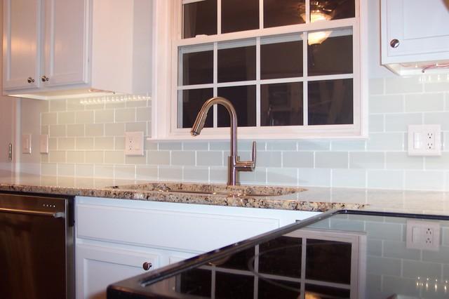 White Glass Subway Tile Kitchen Backsplash - Traditional ...
