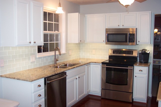 White Glass Subway Tile Kitchen Backsplash Traditional Kitchen