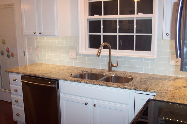 Kitchen Backsplash Glass Subway Tile white glass subway tile kitchen backsplash - traditional - kitchen