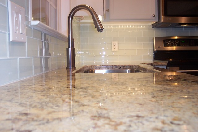 White Glass Subway Tile Kitchen Backsplash - Traditional - Kitchen ...