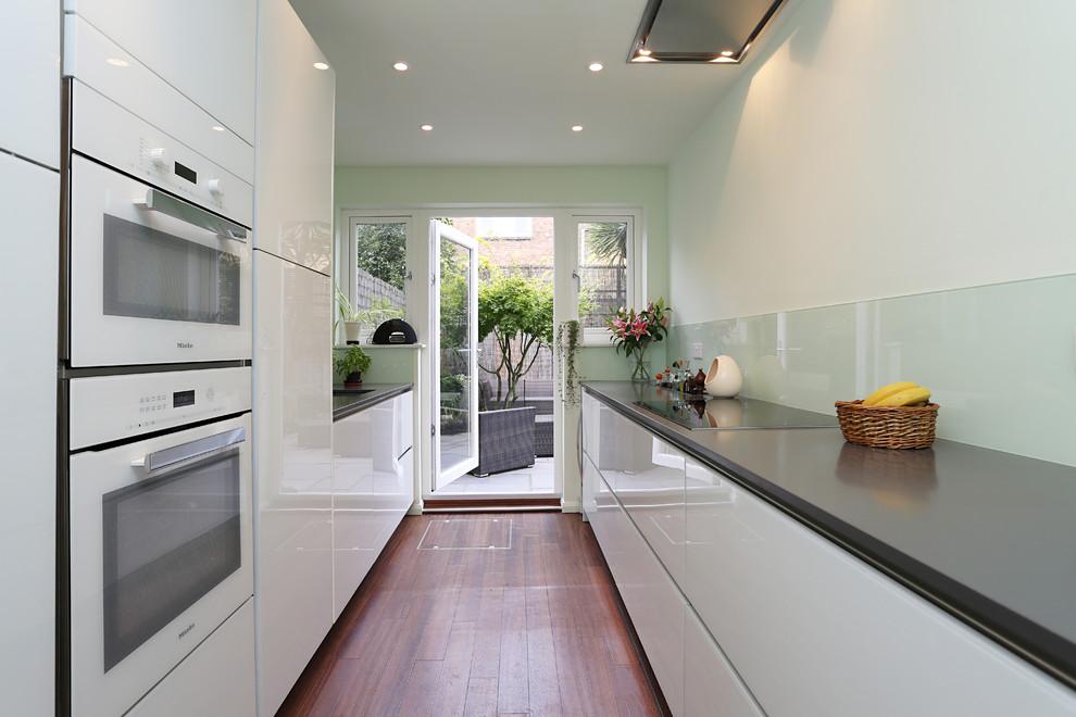 White Gloss Galley Kitchen Modern Kitchen London By Lwk London Kitchens Houzz
