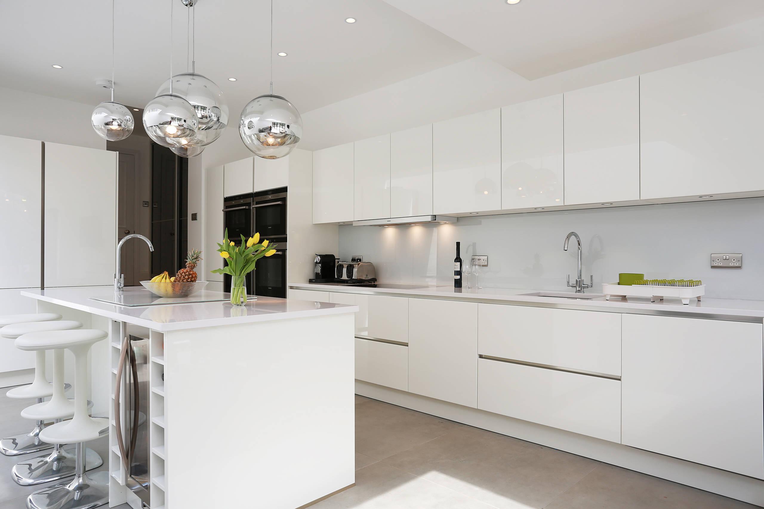 High Gloss White Kitchen Houzz