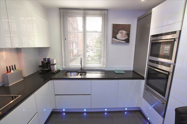 white gloss kitchen design - modern - kitchen - london -lwk
