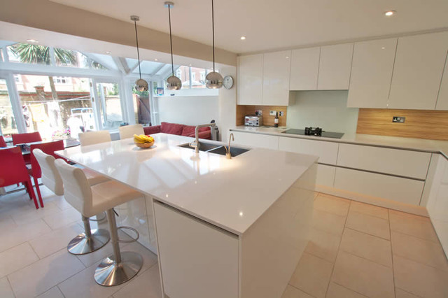 White gloss kitchen island Modern Kitchen London
