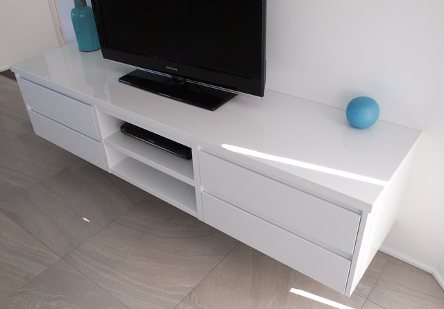 White Gloss polyurethane Floating TV cabinet with Shadowline Drawers
