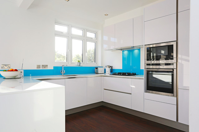 White Gloss U Shaped Kitchen Contemporary London By