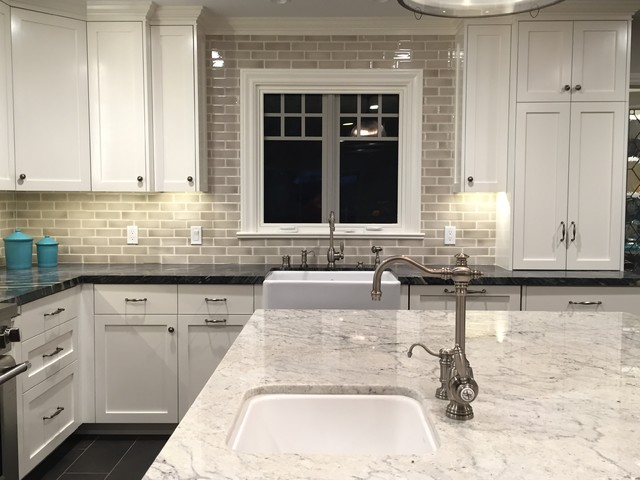 White granite island, gray marble counter & Encore silver crackle tile