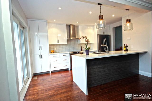 White High Gloss-Dark Island-Waterfall Quartz - Contemporary - Kitchen - toronto - by Parada ...