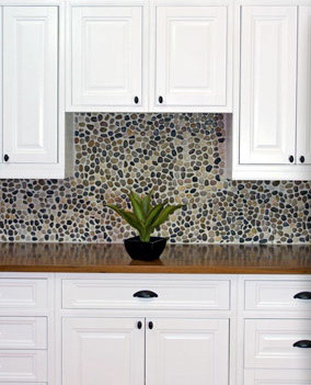 White Inset Cabinets With Pebble Backsplash Traditional Kitchen Austin By Ub Kitchens Kitchen Design And Cabinets