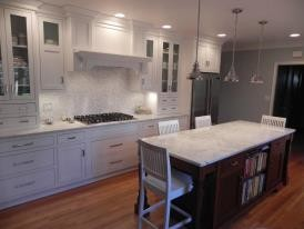 White Inset with Cherry Island traditional-kitchen