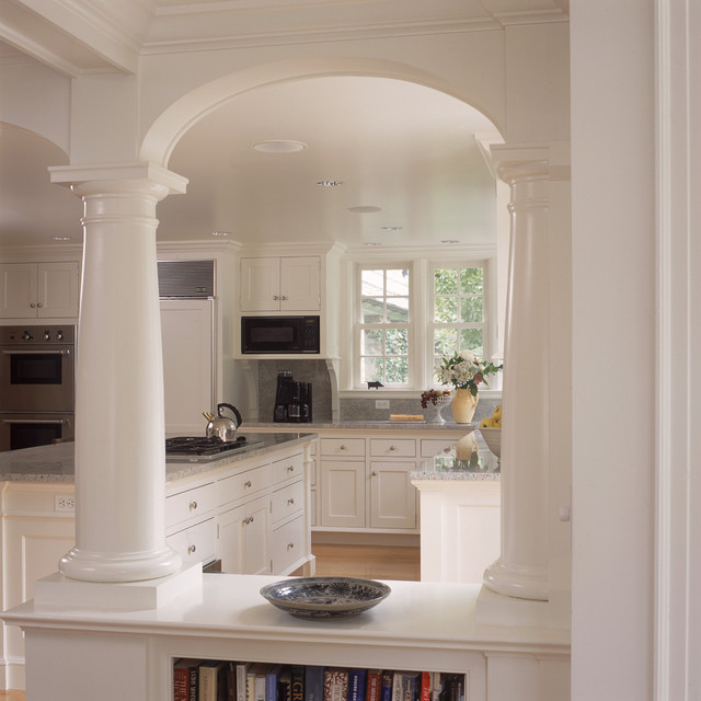 Design For Living Room With Open Kitchen Houzz Home Design: White Kitchen And Breakfast Room With Fireplace And Arches
