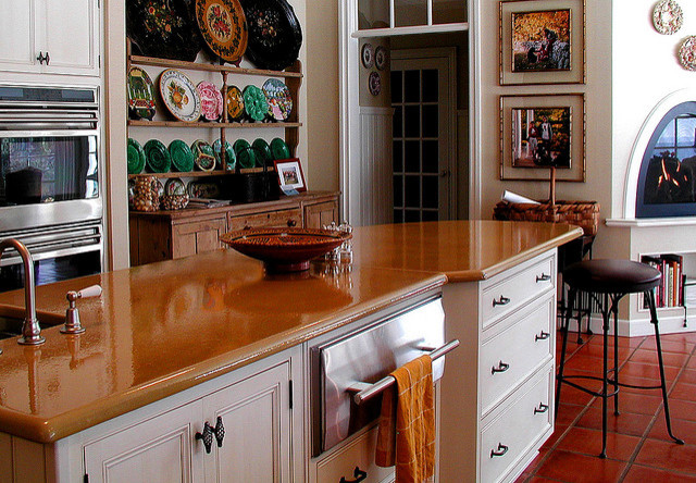 white kitchen and fireplace traditional-kitchen