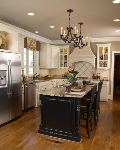 White And Black Traditional Kitchen white kitchen black island - traditional - kitchen - other -