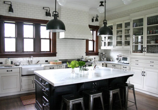 Black And White Traditional Kitchen white kitchen black island