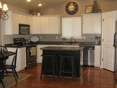 White Kitchen Cabinets & Black Island