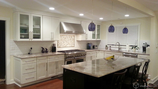 example of a trendy kitchen design in bridgeport - Contemporary Kitchen Cabinets