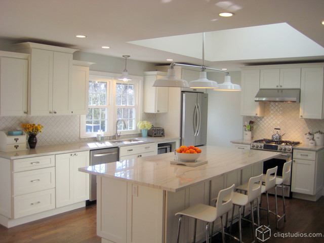White kitchen cabinets contemporary kitchen new york for New york kitchen units