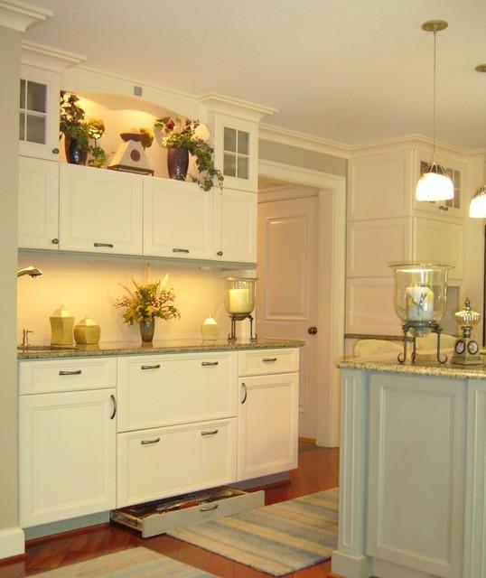 White Kitchen Cabinets, Hidden Drawer In Base, Accent
