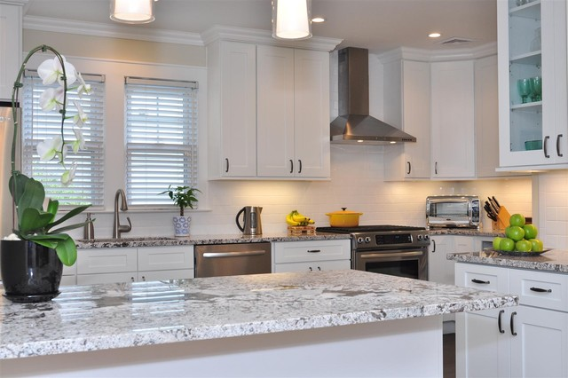 white shaker kitchen cabinets with granite countertops. White Kitchen Cabinets | Ice Shaker Door Style Cabinet Kings Transitional-kitchen With Granite Countertops Houzz