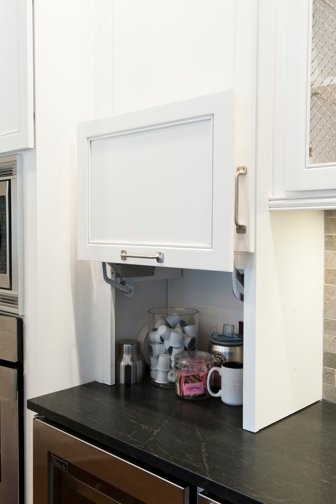 White Kitchen Cabinets With Appliance Garage And Honed