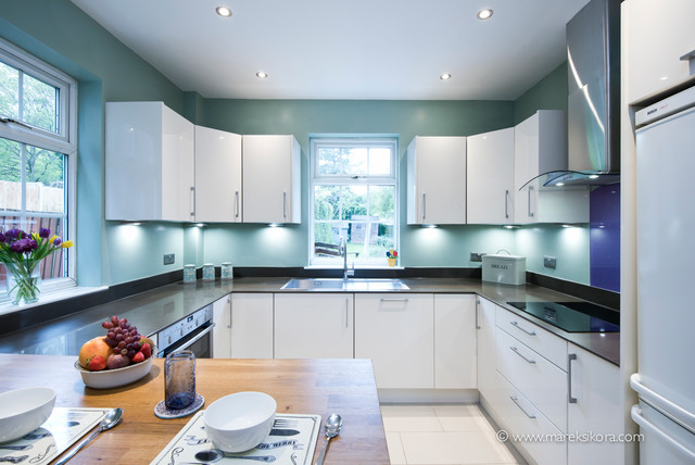 White Kitchen Dark Worktops With Blue Walls Contemporary