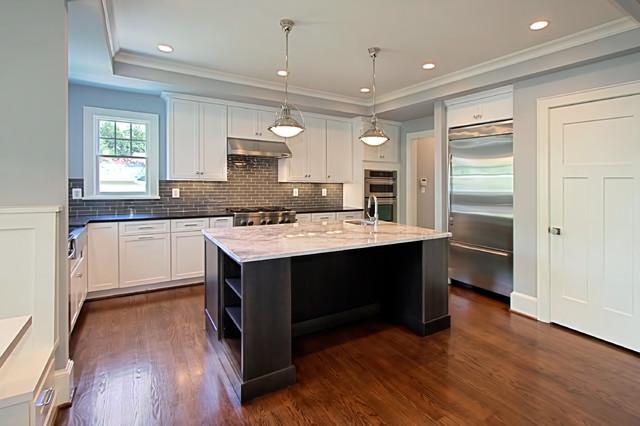White Kitchen Gl Tile Backsplash Contemporary