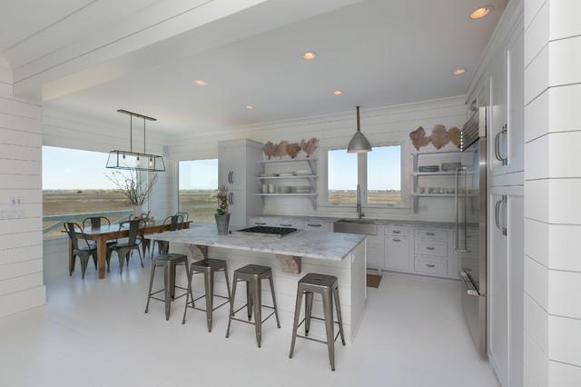 Lovely White Kitchen   Granite White Countertops   White Floor Beach Style Kitchen