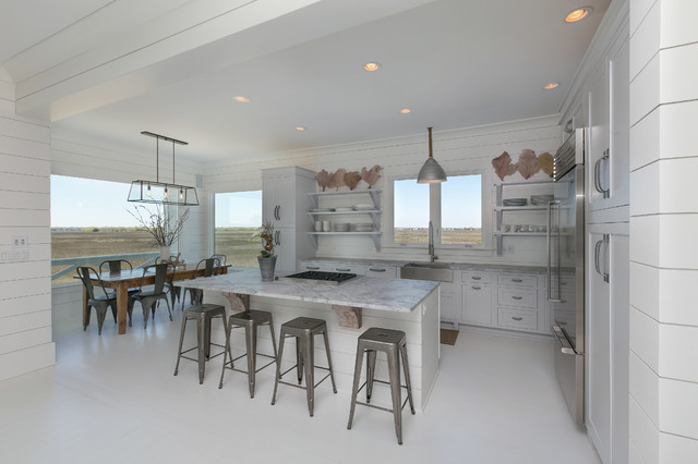 White Kitchen Granite White Countertops White Floor