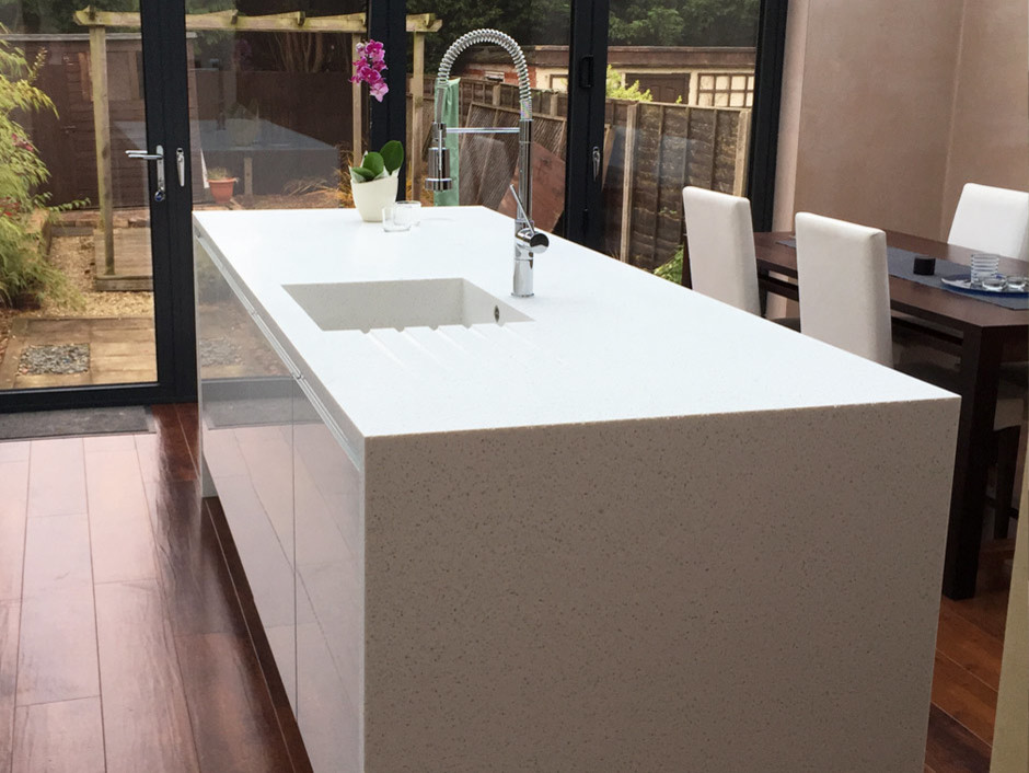 White Kitchen Island with Seamless Sink - Tristone Solid Surface ...