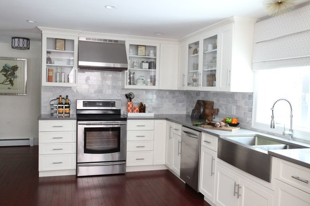 White kitchen remodel contemporary kitchen boston for Kitchen renovations with white cabinets