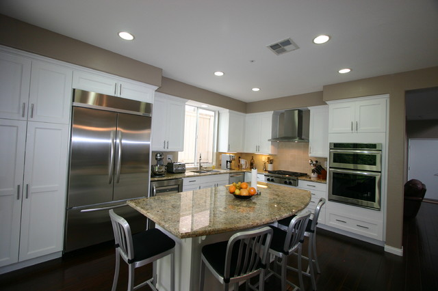 White kitchen transitional kitchen los angeles by south bay design center Kitchen design newtown ct