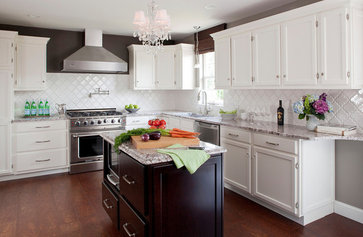 White Kitchen, Stained Island with Bianco Antico Granite, Cork Floors contemporary kitchen