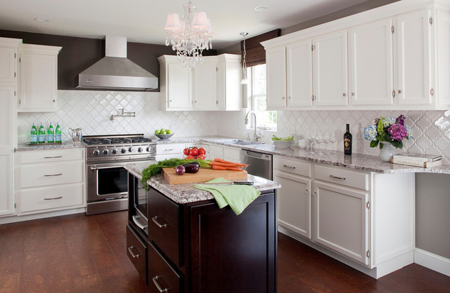White Kitchen, Stained Island with Bianco Antico Granite, Cork Floors contemporary-kitchen