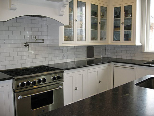 White Soapstone Countertops : White kitchen subway tile soapstone counters