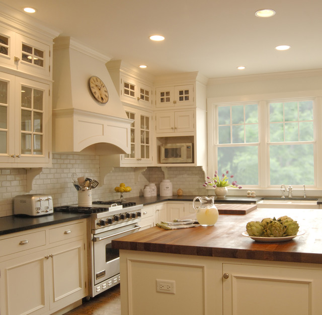 Captivating Example Of A Classic Kitchen Design In Chicago With Soapstone Countertops  And White Appliances