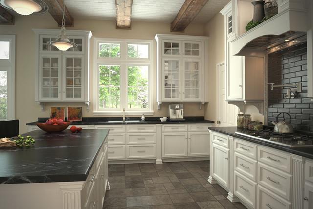 Vt Industries Tile Stone Countertops White Kitchen Traditional Kitchen
