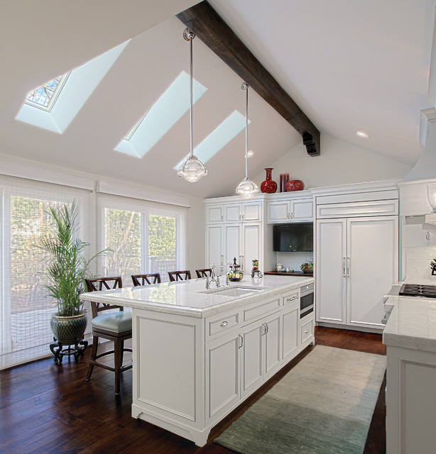 White Kitchen w Skylights traditional-kitchen