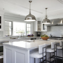 White Kitchen w/ Stainless Steel - Contemporary Great Room