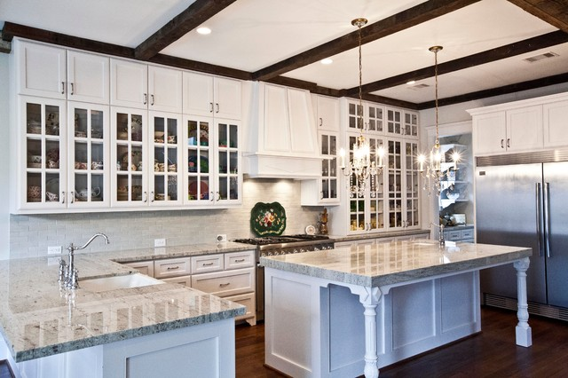 White Kitchen With 8 Ft Island Traditional
