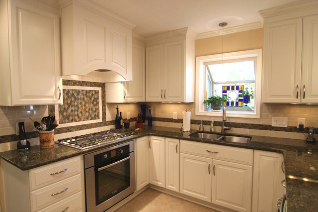 White Kitchen with Granite Countertops  Traditional  Kitchen