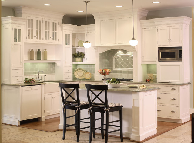 White kitchen with bead board and green tile backsplash for White kitchen cabinets ideas