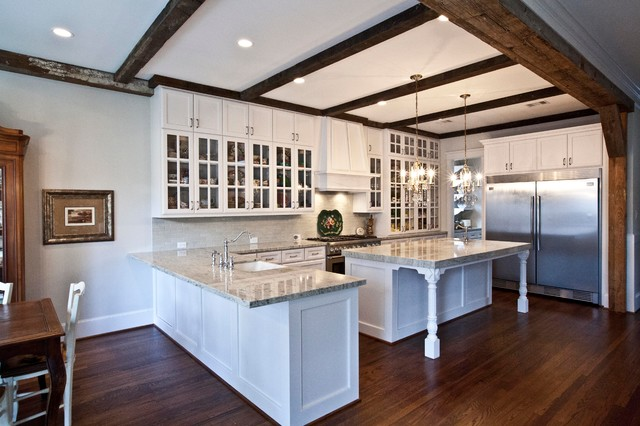 White Kitchen With Beamed Ceiling Traditional
