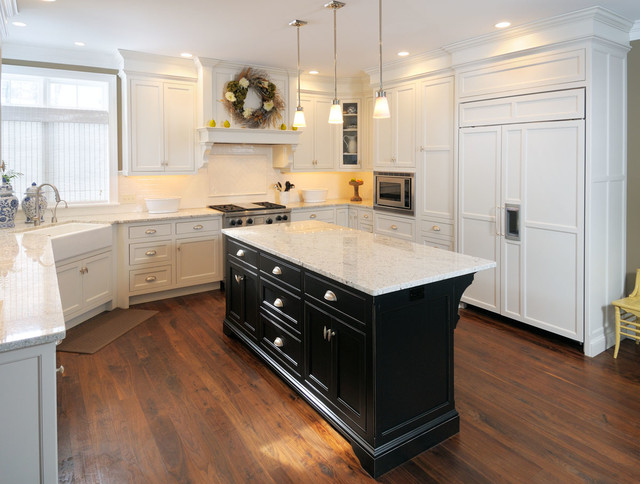 Genial White Kitchen With Black Island Transitional Kitchen