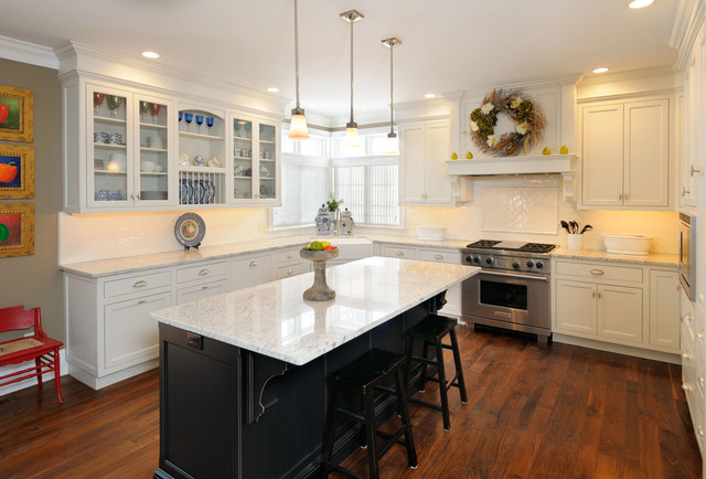 White kitchen with black island transitional kitchen for Dark kitchen cabinets light island
